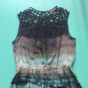 Charlie Jade 100% silk dress- navy, tan, green